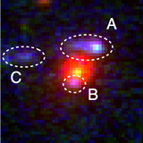 Hubble Space Telescope image of the most distant strong lensing galaxy known at z = 1.62.
