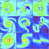 Snapshots of 2D density distributions of models <b>A</b> to <b>I</b>. From top to bottom, the angle of magnetic field and rotational axis changes from aligned to totally misaligned. From left to right, the magnetic field strength increased by lowering the effective mass-to-flux ratio. The 3D density and field line distributions show examples of different extents of misalignment and mass-to-flux ratios.