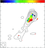 Left: VLBA rotation measure (RM) map of 3C 216 from 12 to 24 GHz. A clear gradient transverse to the direction of the jet is observed. Thick line indicates the region where slice is taken. Right: Slice of the RM and fractional polarization. Beamsize is indicated by the horizontal line in the bottom left. Fractional polarization shows indications of an increase towards the edges of the jet.