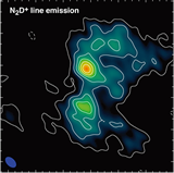 Two submm sources in the B1-b molecular cloud core. (Left) Thermal dust emission at 1.1 mm observed with the SMA (white contours) on top of the mid-IR image taken with the Spitzer space telescope (color image). (Right) N2D+ emission line observed with the SMA and SMT. (Huang & Hirano 2013, ApJ, 766, 131)