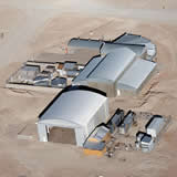 An aerial view of the technical building at the AOS at 5000m
