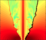 Density plots in log scale from simulations of two-temperature outflow model. (Left) Mosaic of simulations demonstrating effects of varying temperature and magnetization degree. Panel indices of (a) to (c) shows decreasing magnetic field strength, and (1) to (3) shows increasing wind temperature. The central axial jet is less collimated and the shell structure is widened when magnetic force is relatively unimportant.  (Right) Comparisons that demonstrates the effect of poloidal magnetic field. The top panel is run with poloidal field and the lower without. Thick solid line is where wind mass fraction is 1%, and thick dashed line is where bulk velocities equal the ambient sound speed. The shell is mode corrugated in cases without poloidal field (Wang et al. 2015)