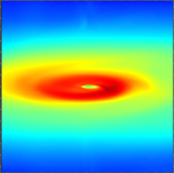 A sample picture based on the radiative transfer code Perspective exploring a very early stage disk formed within the MHD model of Li et al. (2014). The picture shows gas column density and linear polarization component q along the line of sight, inclined 15 degrees from the midplane. The early disk in the model shows a spiral-like shape, presumably created by the magnetic field aligned along the rotational plane of the original cloud. (Väisälä, Shang et al., a work in progress)