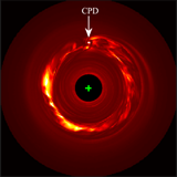 Moment-2 image for the 13C18O J = 3–2 transition of the fiducial model at face on. The location of the circumplanetary disk is labeled. A 4×10-3 stellar mass planet induces a prominent ring of high velocity dispersion inside the gap. This is the key planet-induced signature in this study (Dong, Liu, & Fung 2019).