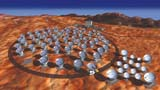 "Conceptual image of ALMA, which is currently under construction. ALMA will consist of the""12m Array"" of up to sixty-four 12 m telescopes, and ""Atacama Compact Array (ACA)""of four 12m and twelve 7m telescopes."