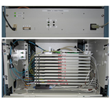 Top photo - eSMA control panel consisting of DC power supply, ADAM-6050 monitor and control module, and custom logic board.  Bottom photo - Single-mode fiber splice trays with two black Newport SPDT optical switches at bottom.
