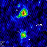 The 7 mm continuum image of the binary protostellar system L1551 IRS 5 obtained with the VLA (Lim and Takakuwa 2006, ApJ, 653, 425).