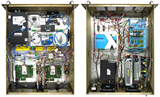 Internal photos of LORTM instrument.  Left - top view of optical components including Sumitomo Mach Zehnder modulators (x2), Centellax RF power amplifiers (x2), Amonics erbium doped fiber amplifier, fiber Bragg grating filters, along with other auxiliary items.  Right - bottom view consisting of DC power supplies, ADAM monitor & control, TexaXion laser, and Miteq IF power amplifier.