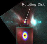 A rotating disk (from the SMA observations) is detected around a protostar launching a powerful jet (from the HST observations of Reipurth et al 1999) in Orion. (Lee 2011, ApJ, 741, 62)
