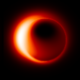 "Image simulation of black hole shadow (""silhouette"") images based on a possible accretion flow model."