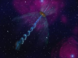 An artist's impression of a rotating jet around the massive your stellar object S235AB-MIR found using VLBI observations with the Japanese VERA array