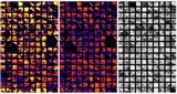 Micrometer-scale ion images of the cross-section of SaU 290 (CH3 chondrite), recorded by the NanoSIMS 50L at Academia Sinica. A ~10 pA Cs+ primary beam with a nominal spot size of 100 nm and rastered over 20 × 20 µm, to image the sample surface simultaneously in several ion species. A total of 160 (10 × 16 rows) individual images were recorded, and these were combined to create maps in a) 16O- and b) 18O-, as well as c) secondary electrons.